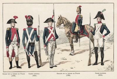 Солдаты Полицейского легиона (1795 год) и национальные гвардейцы (1814 год). Ville de Paris. Histoire des gardiens de la paix. Париж, 1896