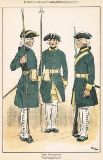 Гренадеры шведского пехотного полка Östgöta в униформе образца 1756 г. Svenska arméns munderingar 1680-1905. Стокгольм, 1911