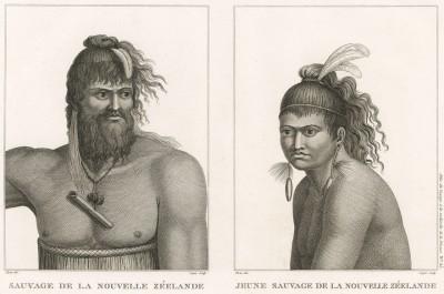 Воины маори. Atlas pour servir à la relation du voyage à la recherche de La Pérouse, л.25. Париж, 1800