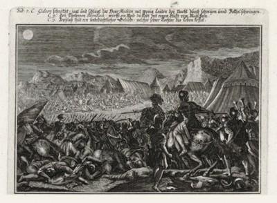 Гедеон на поле битвы (из Biblisches Engel- und Kunstwerk -- шедевра германского барокко. Гравировал неподражаемый Иоганн Ульрих Краусс в Аугсбурге в 1700 году)