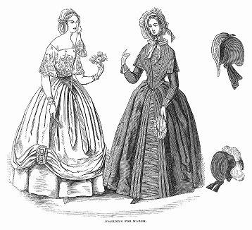 Элегантное платье из крепа и муарового шёлка (слева), шнурованное шёлковое платье, подчёркивающие талию и грудь (справа) -- парижская мода, март 1844 года (The Illustrated London News №95 от 24/02/1844 г.)