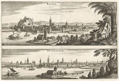 Города Рагуза (ныне Дубровник) в Хорватии и Халкида (Негропонте) - главный город греческого острова Эвбея. Франкфурт-на-Майне, 1660