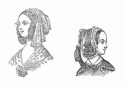 Расшитый серебром шарф, повязанный вокруг головы (слева), чепец, украшенный венком в виде листьев -- парижская мода, февраль 1844 года (The Illustrated London News №91 от 27/01/1844 г.)