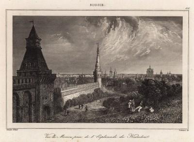 Вид на Московский Кремль (из L'Univers. Histoire et Description de tous les Peuples. Russie. Париж. 1838 год (лист 100))