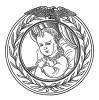 """Наполеон II - Наполеон Франсуа Жозеф Шарль Бонапарт, король Римский, Франц, герцог Рейхштадтский (1811—1832) — единственный законный ребёнок Наполеона I. У бонапартистов известен как """"Орлёнок"""". Илл. к пьесе С.Гитри """"Наполеон"""", Париж, 1955"""