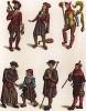 Работники свободных профессий во Франции в XV веке: тюремный смотритель, менестрель, шут, нищий, пилигрим, пастырь и буржуа (из Les arts somptuaires... Париж. 1858 год)