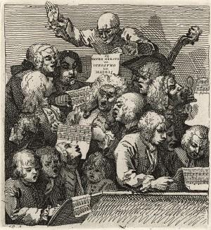 Хор, 1733. Квитанция на оплату «Современного ночного разговора». Хор во главе с Джоном Хаггинсом (изображен в центре), другом Торнхилла, исполняет ораторию «Юдифь», либретто для которой написал Вильям Хаггинс, сын Джона. Лондон, 1838