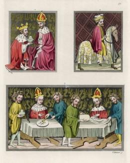 Миниатюры из Венского кодекса Золотой буллы: 1, 2. Функции советника архиепископа и Великого маршала 3. Накрытые столы для приёма императора и императрицы с сановниками и приближёнными