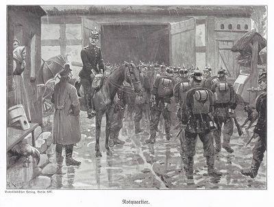 1890 гг. В поисках ночлега. Unser Vaterland in Waffen Ein patriotischer Hausschatz für das deutsche Volk und Heer. Берлин, 1900