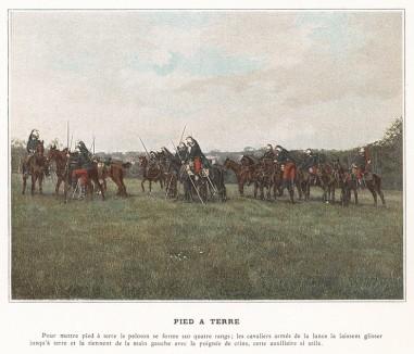 Взвод французских кирасиров на полевых занятиях. L'Album militaire. Livraison №4. Cavalerie. Serviсe en campagne. Париж, 1890