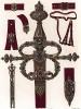 Эскизы шпаг, футляров, портупей, созданные орнаменталистом Гансом Милихом (1516 - 1573), трудившемся при дворе герцога Баварского Альбрехта V (из Les arts somptuaires... Париж. 1858 год)