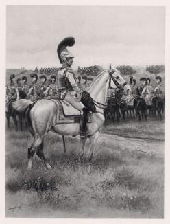 """Офицер карабинеров на полевых учениях в 1810 году (иллюстрация к известной работе """"Кавалерия Наполеона"""", изданной в Париже в 1895 году)"""