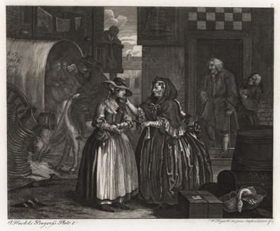 Карьера шлюхи, гравюра 1. «В ловушке сводницы», 1732. В 1730 г. Хогарт создает серию картин о печальной судьбе девушки, приехавшей в Лондон из деревни и попавшей в руки сводни. Гравюры с этих картин принесли Хогарту первые деньги и славу. Геттинген, 1854