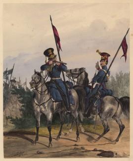 Конные лейб-гвардейцы короля Вюртемберга (литография из Das Koniglich Wurttembergische Militair... Вюрцбург. 1840 год)