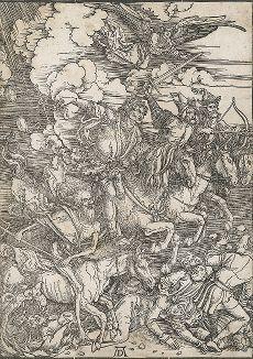 Четыре всадника Апокалипсиса. Лист из сюиты «Апокалипсис» Альбрехта Дюрера, ок. 1498 года.