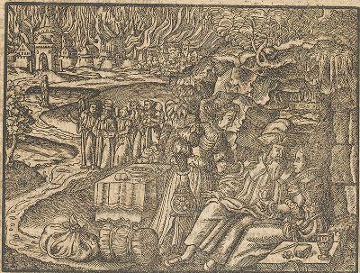 Лот и его дочери. Иллюстрация к самому красивому изданию Библии, созданному в середине XVI века в Виттенберге (издатель Ганс Крафт).