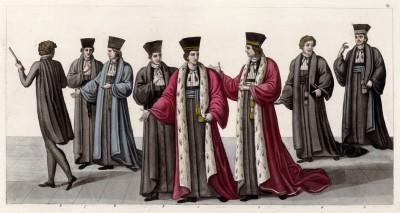 Итальянские юристы эпохи Наполеона (из знаменитой работы Джулио Феррарио Il costume antico e moderno, o, storia... di tutti i popoli antichi e moderni, изданной в Милане в 1822 году (Европа. Том III))