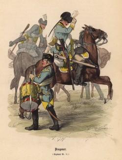 """Барабанщик призывает прусских драгун к бою (иллюстрация Адольфа Менцеля к известной работе Эдуарда Ланге """"Солдаты Фридриха Великого"""", изданной в Лейпциге в 1853 году)"""