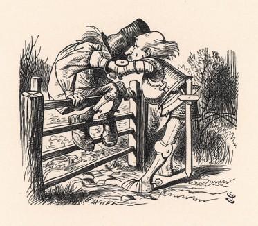 Я все продумал, наконец, и, дав ему пинка, -- Как поживаете, отец? -- спросил я старика (иллюстрация Джона Тенниела к книге Льюиса Кэрролла «Алиса в Зазеркалье», выпущенной в Лондоне в 1870 году)