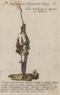 Рядовой австрийской пехоты (полк graf Lacy) в полевой форме образца 1760 г. Schema aller uniformen der Kaiserlish, Koniglish  Kriegsvölker. Вена, 1787
