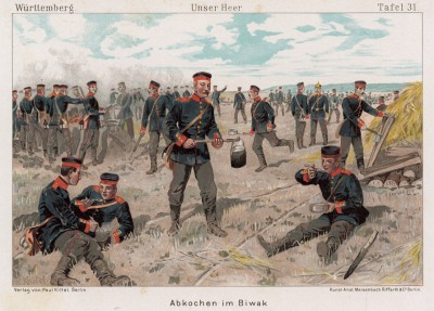 Вюртембергская пехота на привале в 1890-е гг. (лист 31 иллюстраций Рихарда Кнотеля к книге, посвящённой армии Второго Рейха)