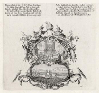 Рождение Ихавода (из Biblisches Engel- und Kunstwerk -- шедевра германского барокко. Гравировал неподражаемый Иоганн Ульрих Краусс в Аугсбурге в 1700 году)