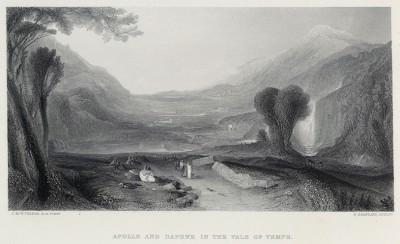 """Аполлон и Дафна в долине Темпе (лист из альбома """"Галерея Тёрнера"""", изданного в Нью-Йорке в 1875 году)"""