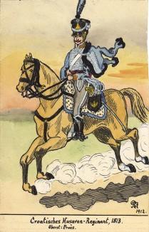 1813 г. Кавалерист хорватского гусарского полка Великой армии Наполеона. Коллекция Роберта фон Арнольди. Германия, 1911-29