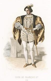Эпоха Возрождения, правление Франциска I. Костюм придворного: так называемый французский берет, широкий камзол с прорезными рукавами, кюлоты с пышными складками.