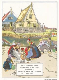 """Юные помощники. Иллюстрация из детской книжки """"Сказки из Голландии"""", изданной в 1926 году."""