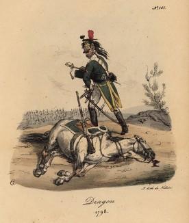 1798 год. Французский драгун, потерявший лошадь (лист 101)