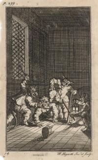 Гудибрас получает наставление. Вдова узнает, что Гудибрас увлечен не ею, а её деньгами. Она поручает слугам преподать ему урок морали. Иллюстрация к поэме «Гудибрас». Лондон, 1732