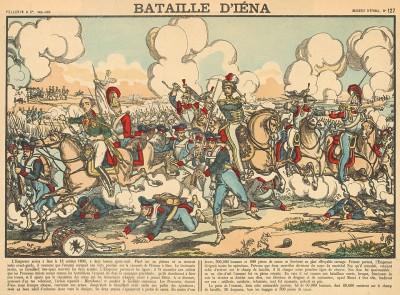 Сражение при Йене 14 октября 1806 г. Bataille d'Iena. Imagerie d'Épinal №127 (фр.). Эпинальская картинка. Париж, 1880-е гг.