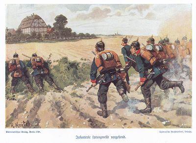 Саксонская пехота на учениях в 1890-е гг. Unser Vaterland in Waffen Ein patriotischer Hausschatz für das deutsche Volk und Heer, л.16. Берлин, 1900