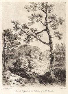 Пейзаж с высоким деревом. Гравюра с рисунка знаменитого английского пейзажиста Томаса Гейнсборо из коллекции У. Александра. A Collection of Prints ...of Tho. Gainsborough, Лондон, 1819.