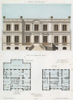 Эскиз и план отеля в классическом стиле в округе Нёйи (из популярного у парижских архитекторов 1880-х Nouvelles maisons de campagne...)