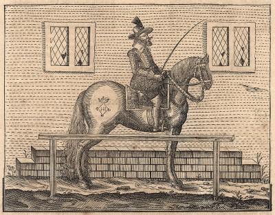 Всадник у коновязи. Немецкая ксилография конца XVII века