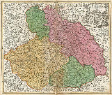 Карта Королевства Богемия, герцогства Силезия, маркграфства Моравия и Лужица.Regni Bohemiae Ducatus Silesiae, Marchionatus Moraviae et Lusatiae Tabula Generalis.