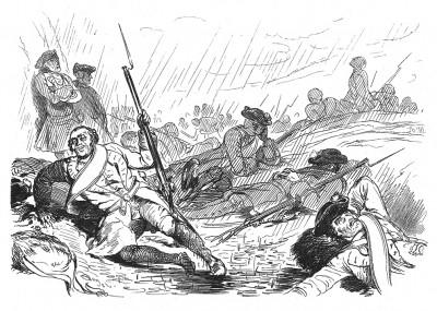 Семилетняя война 1756-1763 гг. Поле битвы при Лобозице вечером 1 октября 1756 года. Илл. Адольфа Менцеля. Geschichte Friedrichs des Grossen von Franz Kugler. Лейпциг, 1842, с.309