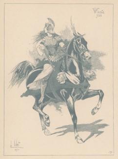 """Власта -- легендарная воительница VIII века из Богемии, желавшая основать царство женщин (из """"Иллюстрированной истории верховой езды"""", изданной в Париже в 1891 году)"""