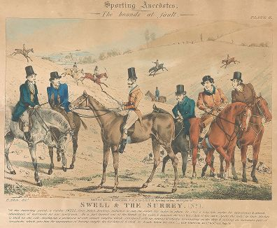 "Светское общество графства Суррей на охоте. Акватинта Генри Алкена из серии ""Sporting Anecdotes"", 1833."