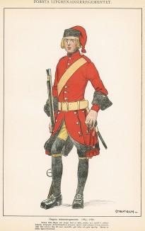 Гренадер шведского пехотного полка Östgöta в униформе образца 1683-87 гг. Svenska arméns munderingar 1680-1905. Стокгольм, 1911