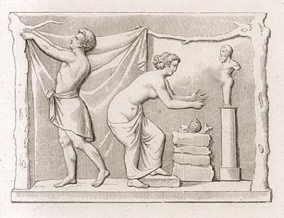 Жертвоприношение Приапу. Мраморный барельеф. Бездетная семейная пара приносит жертву и молится о потомстве богу Приапу. Приап в античной мифологии - божество производительных сил природы.