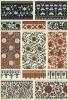 """Китайские росписи на тканях и фарфоре (лист 11 альбома """"Сокровищница орнаментов..."""", изданного в Штутгарте в 1889 году)"""
