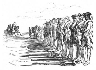 Семилетняя война 1756-1763 гг. Капитуляция саксонской армии 16 октября 1756 г. Днем позже 18000 саксонцев были насильственно приведены к присяге Пруссии. Илл. Адольфа Менцеля. Geschichte Friedrichs des Grossen. Лейпциг, 1842, с.310