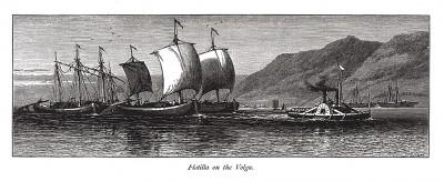 Флотилия на Волге. Из Picturesque Europe. Лондон, 1875