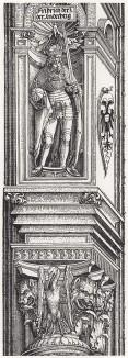 Капитель с журавлём и львиными головами под фигурой Фридриха Благочестивого (деталь дюреровской Триумфальной арки императора Максимилиана I)