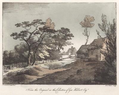 Вид на сельские домики. Гравюра с рисунка знаменитого английского пейзажиста Томаса Гейнсборо из коллекции Дж. Хибберта. A Collection of Prints ...of Tho. Gainsborough, Лондон, 1819.