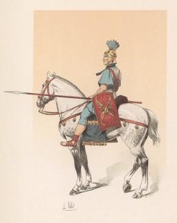 """Древнеримский кавалерист (из """"Иллюстрированной истории верховой езды"""", изданной в Париже в 1891 году)"""