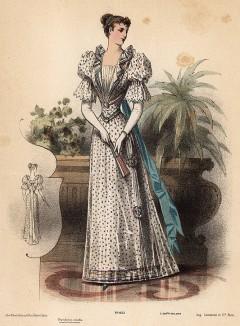Летнее платье в горошек с рукавами-фонариками. Из французского модного журнала Le Coquet, выпуск 286, 1892 год